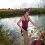 Cheyenne seining catfish pond